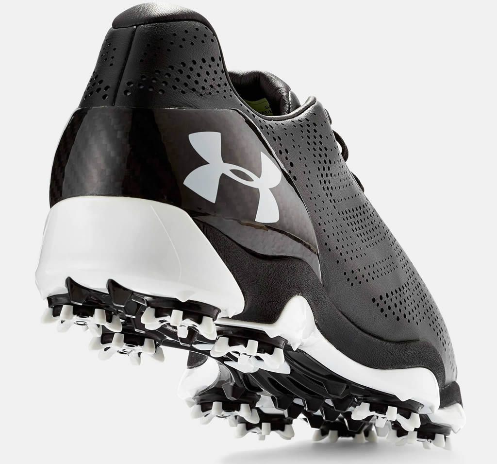 Black Under Armour Drive One Golf Shoe, Heel TaB