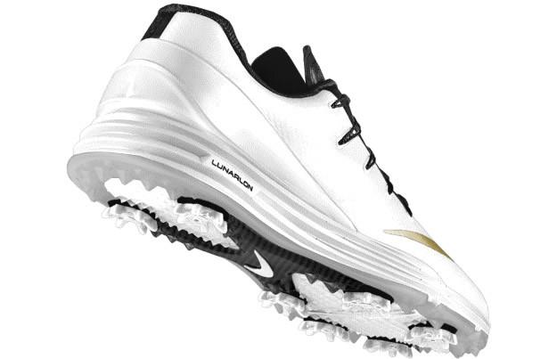 White-Gold Lunar Control 4 iD Golf Shoe by Nike, Sole