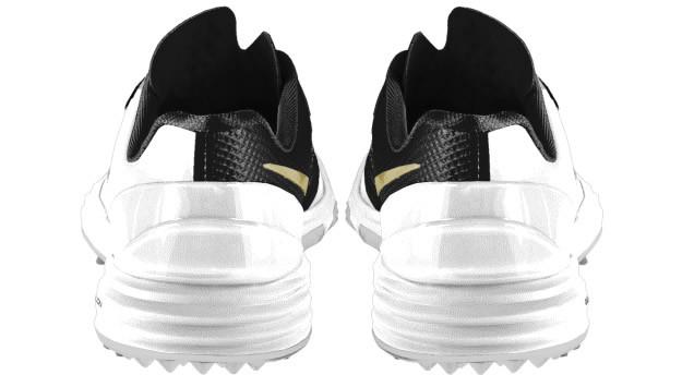 White-Gold Nike Lunar Control 4 iD Golf Shoe Heel tab