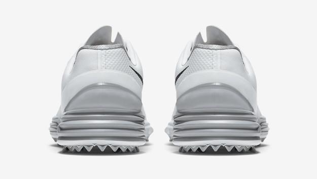 White-Grey Nike Lunar Control 4 Men's Golf Shoe, Heel Tab