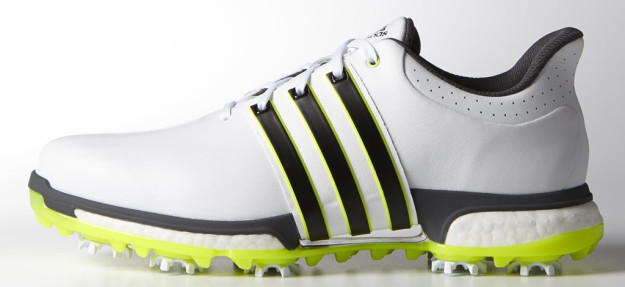 White-SolarYellow adidas TOUR 360 BOOST BOA Golf Shoe