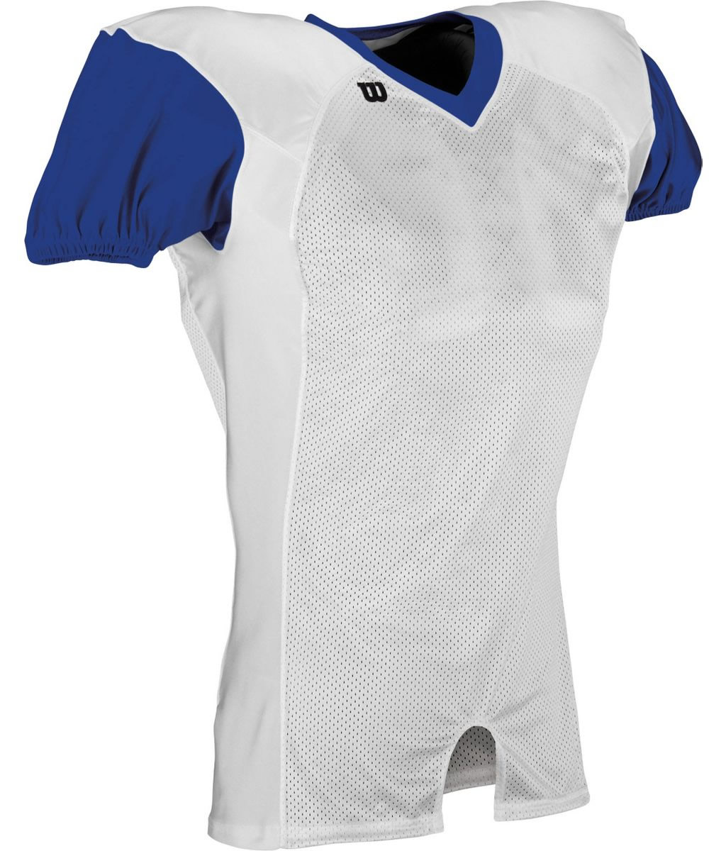 blue and white football jersey