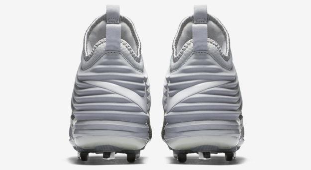 Grey Nike Lunar Trout 2 Baseball Cleats, Heel Tab