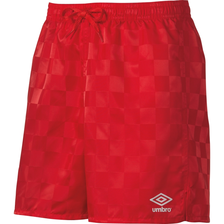 Red Umbro youth soccer shorts