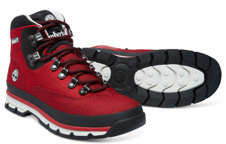Red Men's Euro Hiker Mid Jacquard Boots By Timberland, Sole