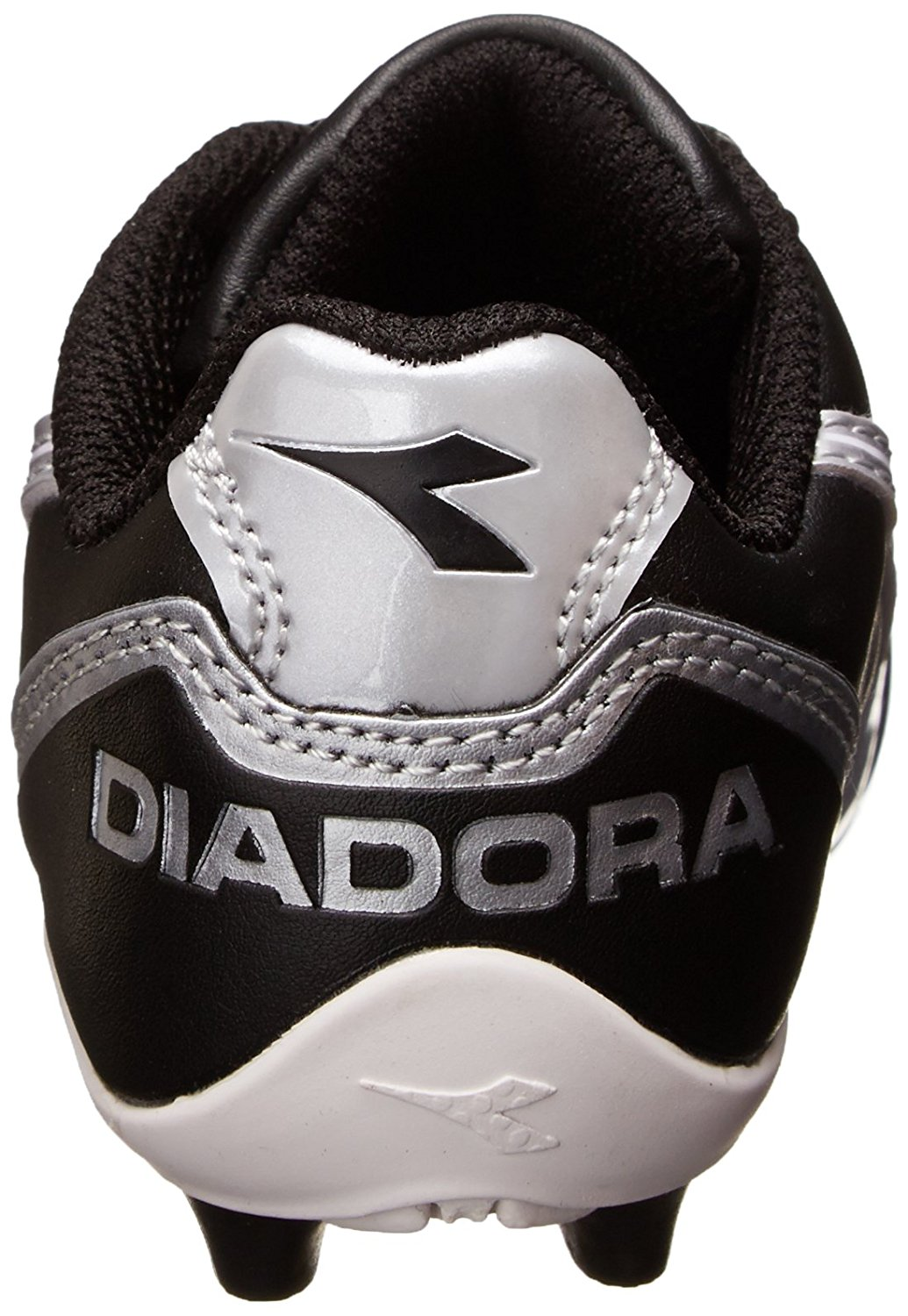 Black Diadora Kids Capitano MD Jr Soccer Shoes, heel tab