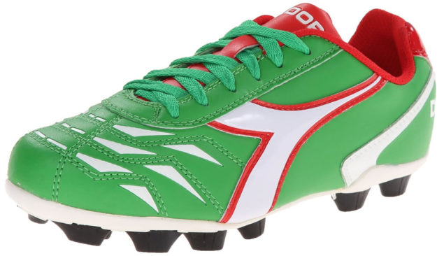 Green Diadora Kids Capitano MD Jr Soccer Shoes