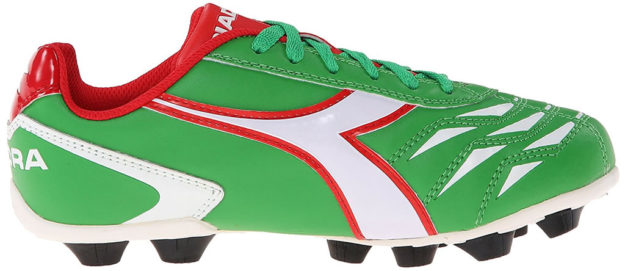 Green Diadora kids soccer shoe