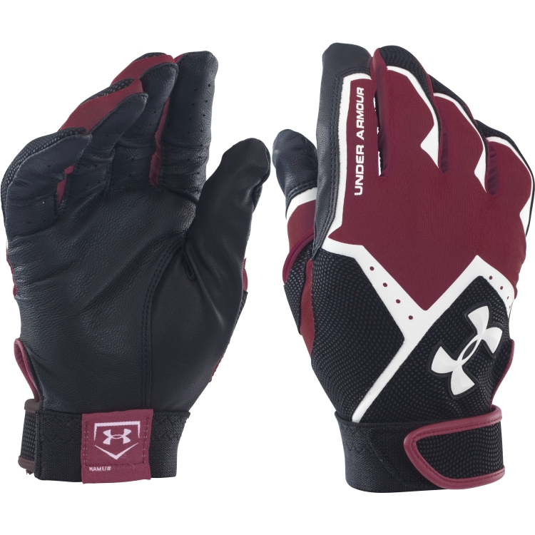 Maroon Adult Clean-Up VI Batting Gloves By UA