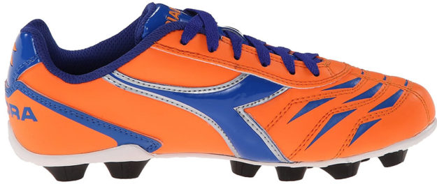 Orange Diadora kids soccer shoe
