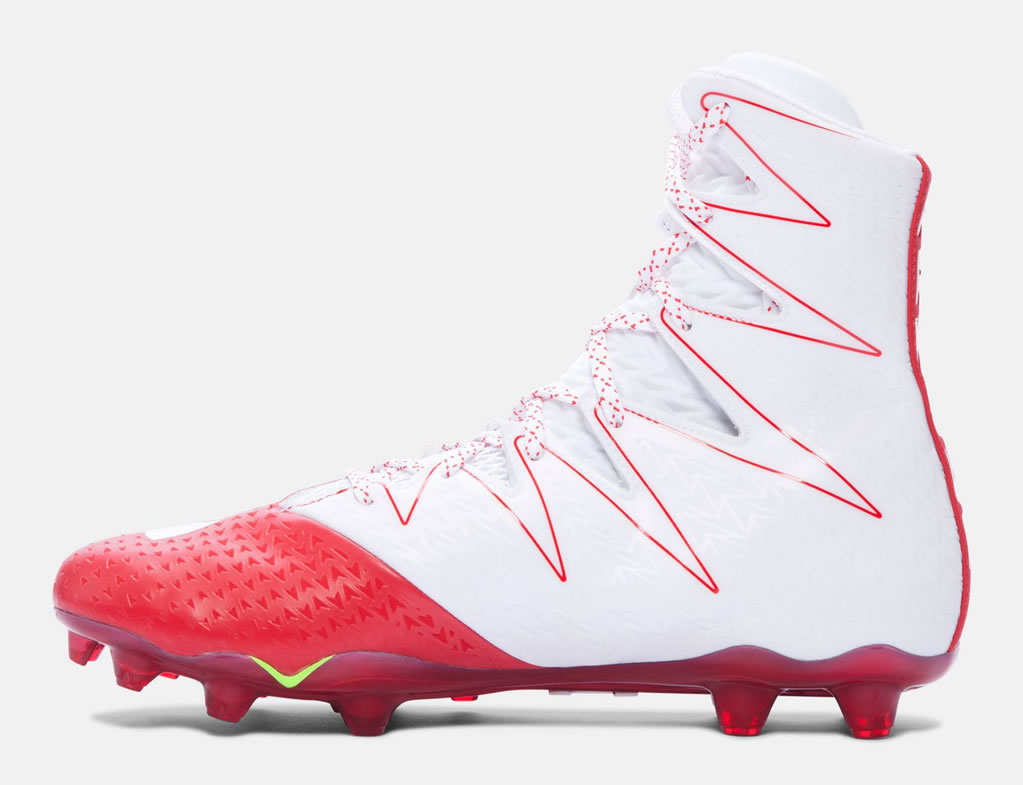 Red men's football cleats by Under Armour
