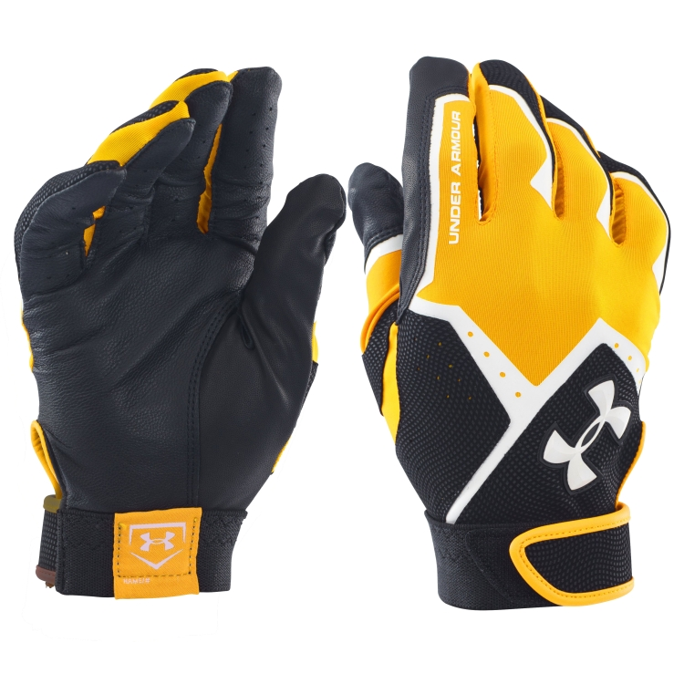 Yellow Adult Clean-Up VI Batting Gloves By UA