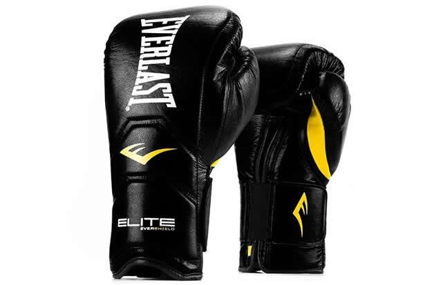 Black Elite Hook & Loop Everlast boxing gloves