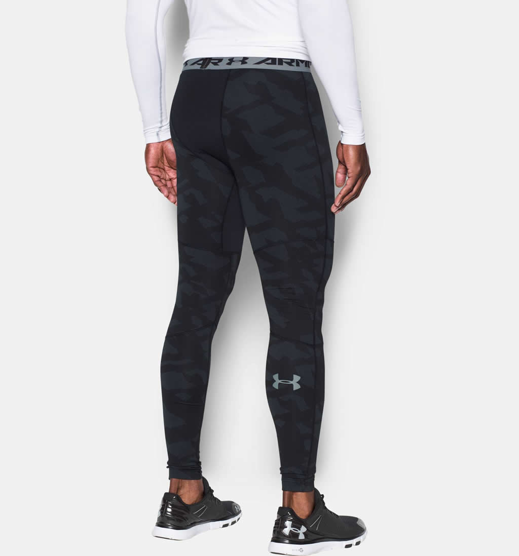 Black Soccer compression pants by Under Armour, Back