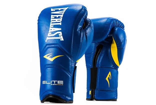 Blue Elite Hook & Loop Everlast boxing gloves