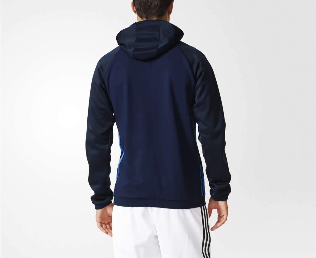 Navy Condivo 16 Fleece hoodie by adidas, Back
