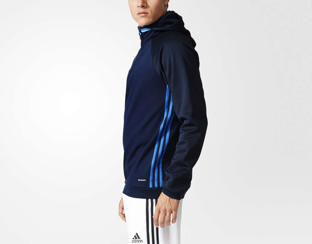 Navy Condivo 16 Fleece hoodie by adidas, Side