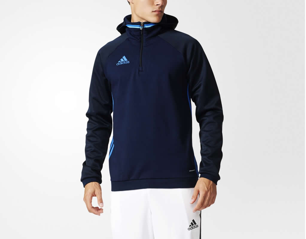 Navy Condivo 16 Fleece hoodie by adidas