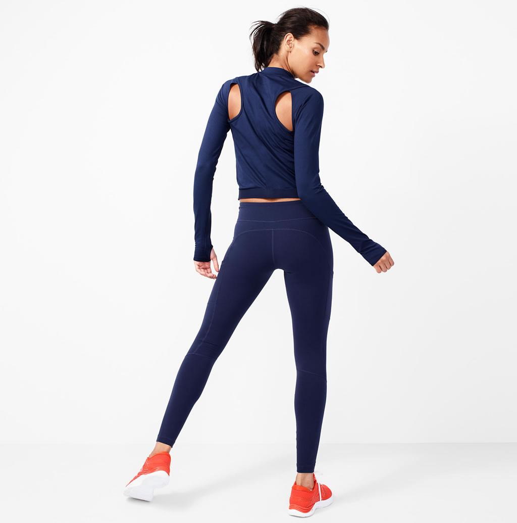 Navy Performance leggings by J.Crew x New Balance, Back