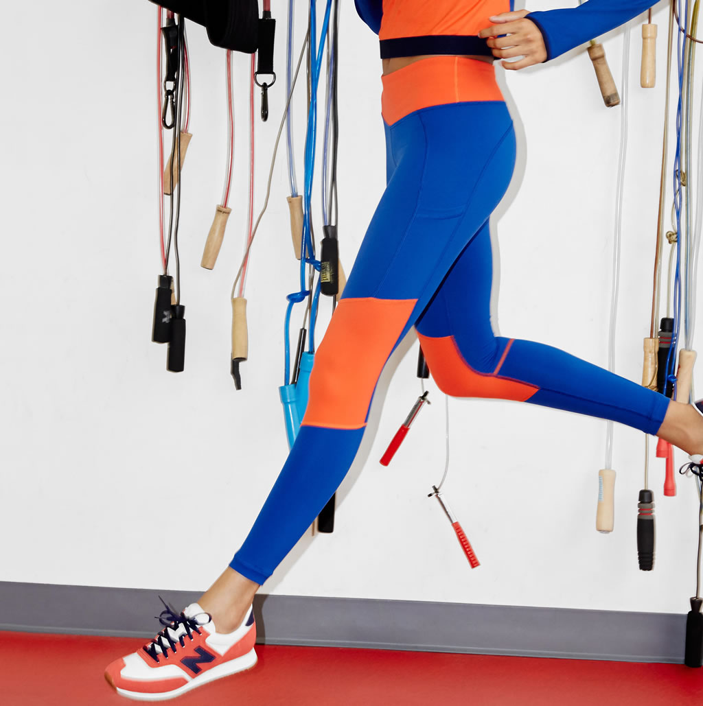 Performance leggings in colorblock by J.Crew x New Balance