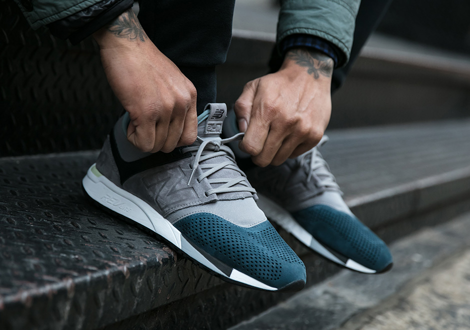 Taupe and Teal 247 Sneaker by New Balance
