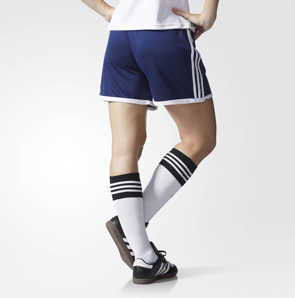 Blue Women's Soccer Shorts By Adidas, Back