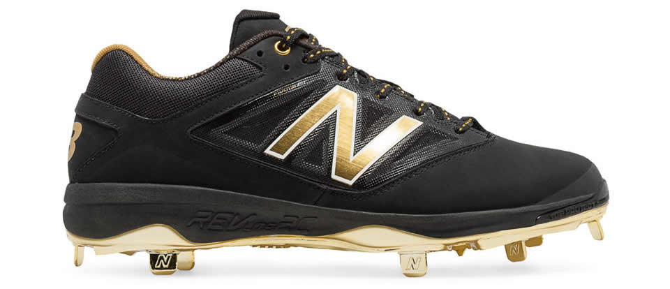 Gold Hero 4040v3 Metal Cleat By New Balance, Side