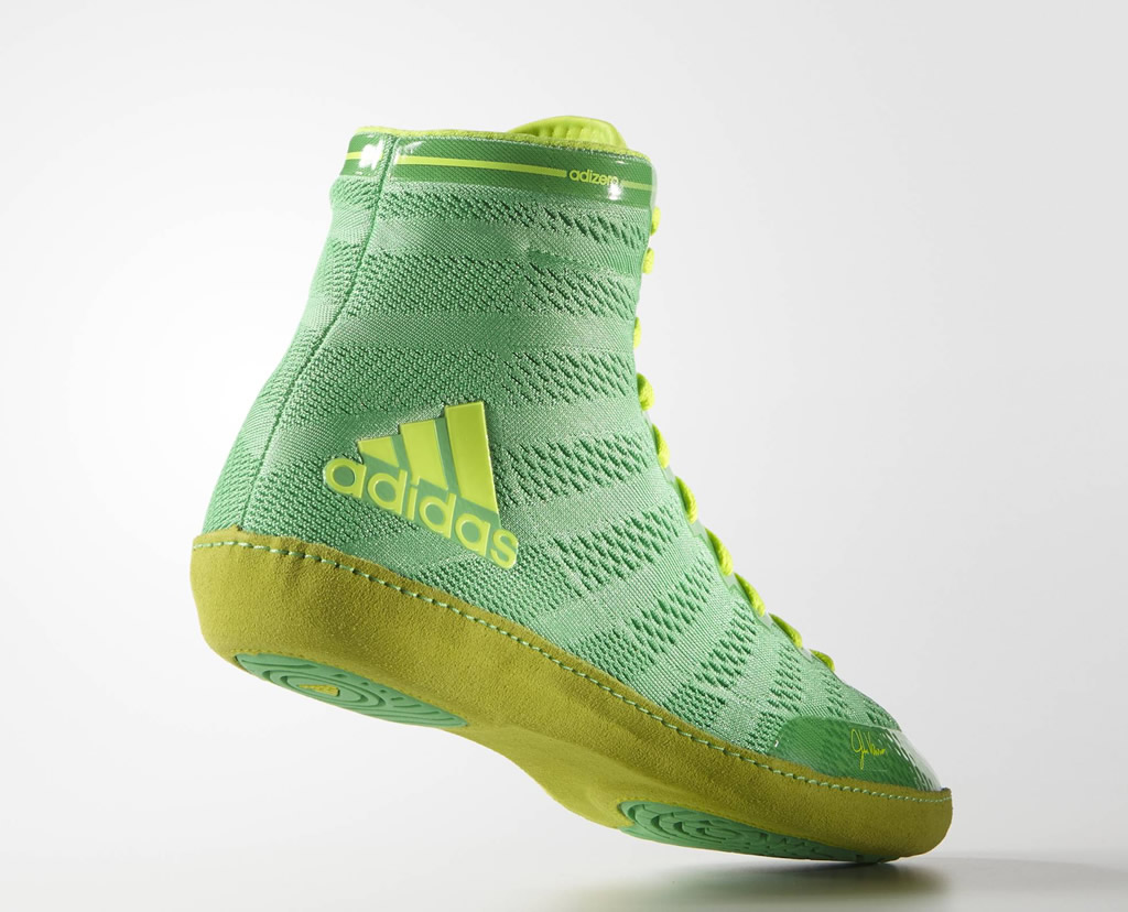 Green adizero Wrestling 14 Shoes by Adidas, Heel Tab