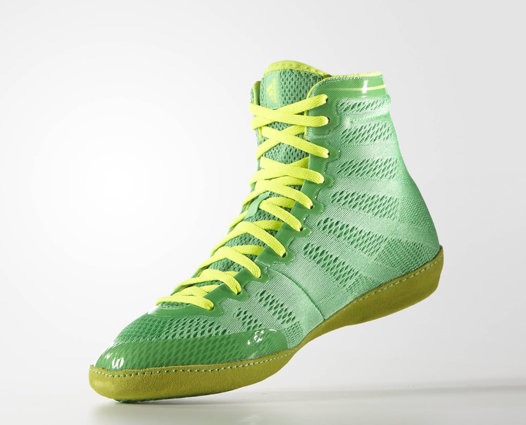 Green adizero Wrestling 14 Shoes by Adidas