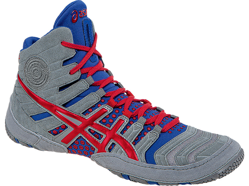 Grey Men's Wrestling Shoes By ASICS, Front