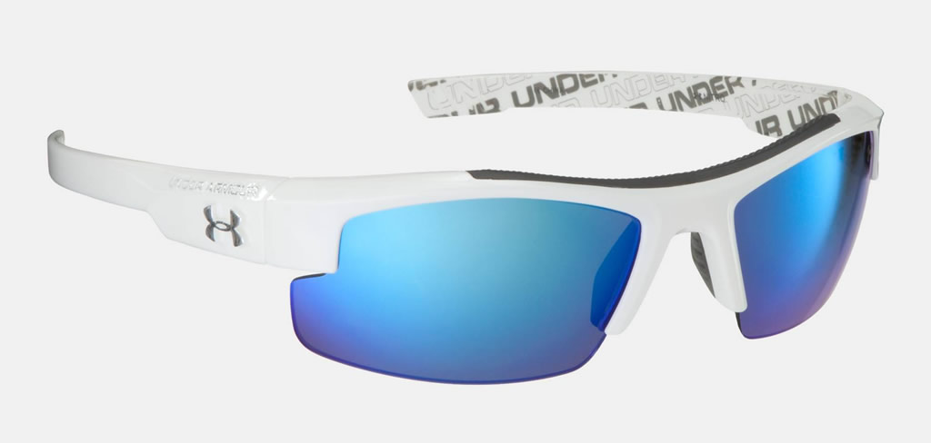 White Nitro L Kids' Baseball Sunglasses by Under Armour