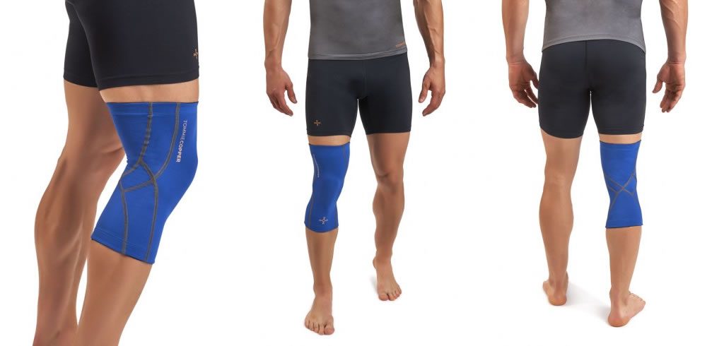 Blue Tommie Copper compression knee sleeve for men