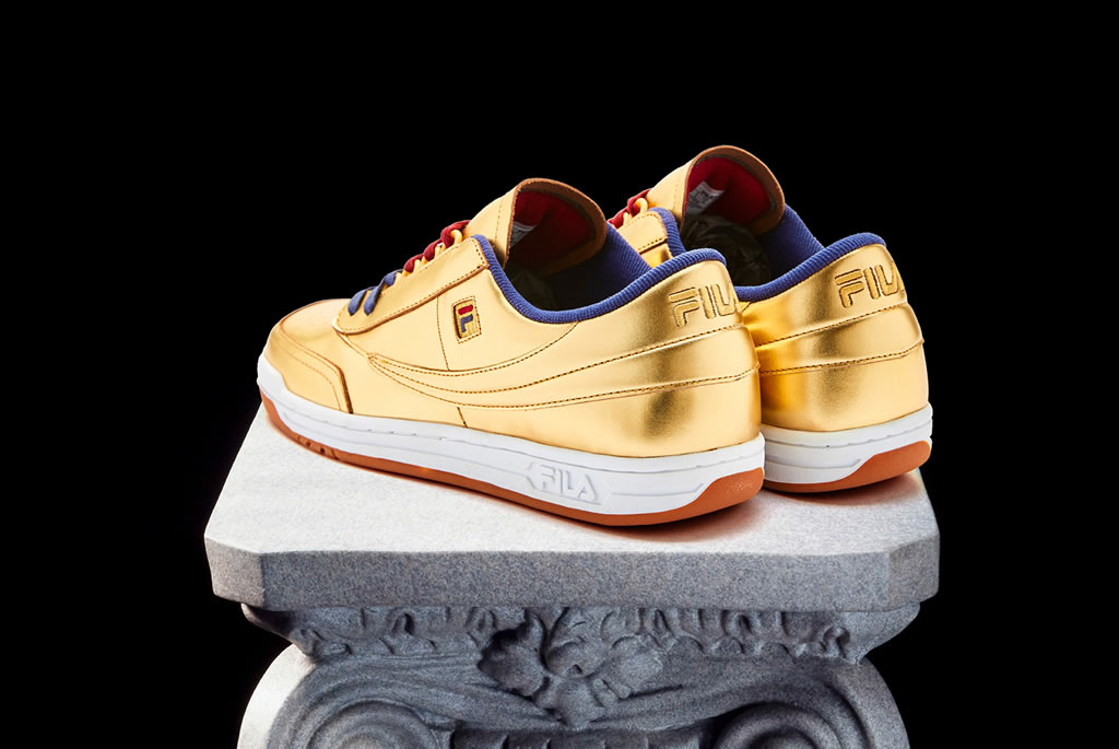 FILA Original Tennis Sneaker In Gold Leather, Heel Tab