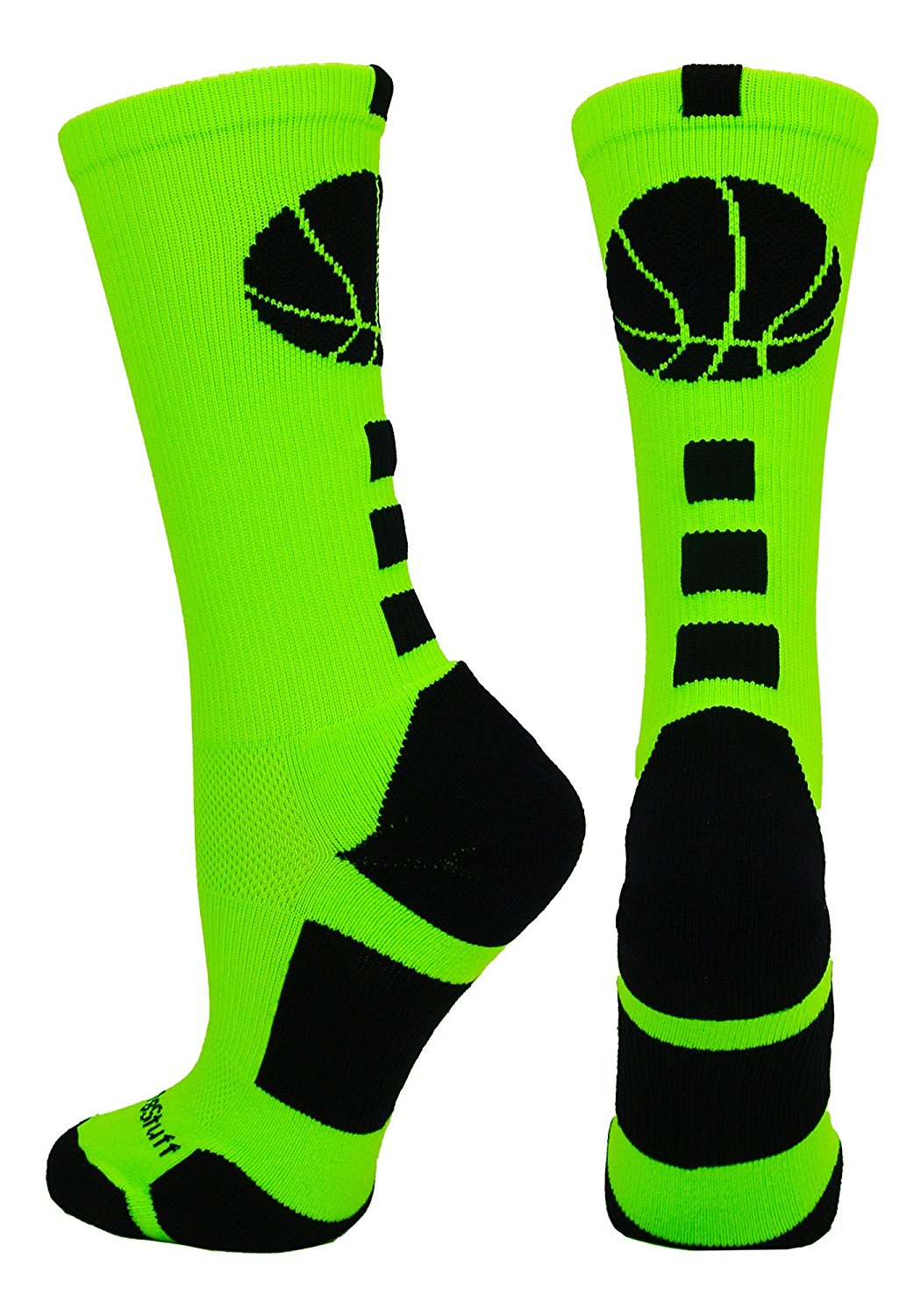 Green Basketball Logo Athletic Crew Socks by MadSportsStuff