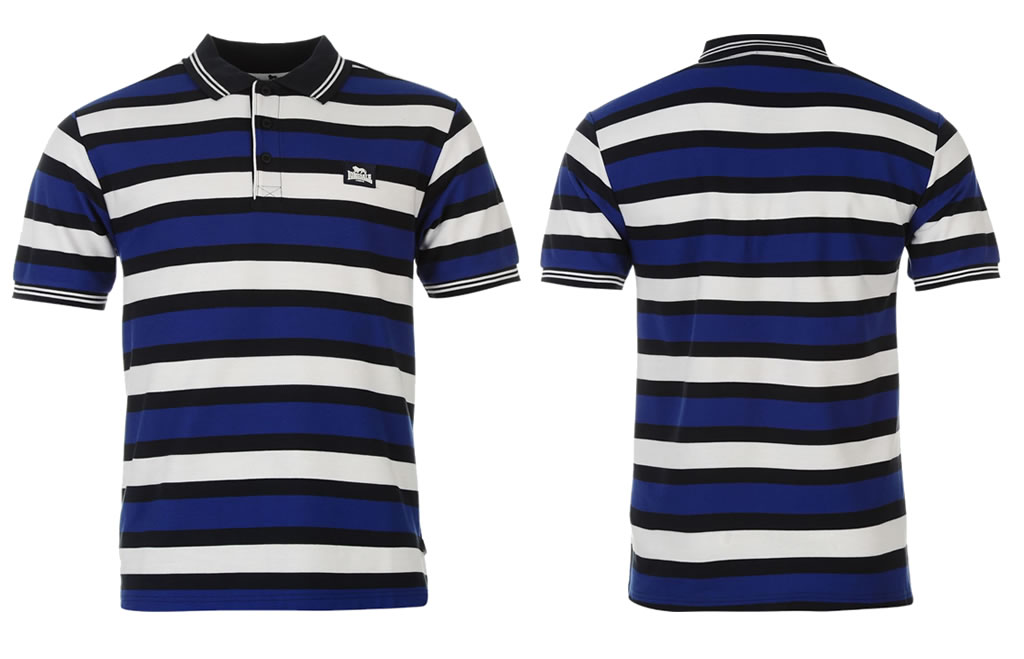 Three Block Stripe Mens Polo Shirt By Lonsdale