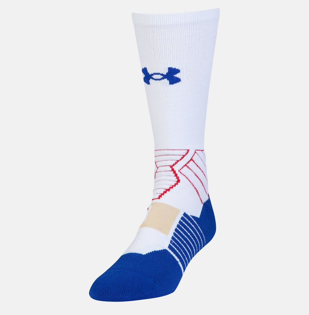 White SC30 Drive Crew Basketball Sock by Under Armour