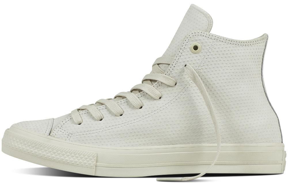 White leather converse high tops for men