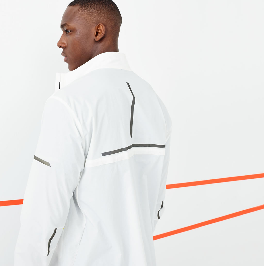 White workout jacket by J.Crew x New Balance