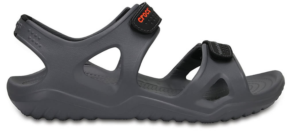 Charcoal Men's Swiftwater River Sandals By Crocs, Side
