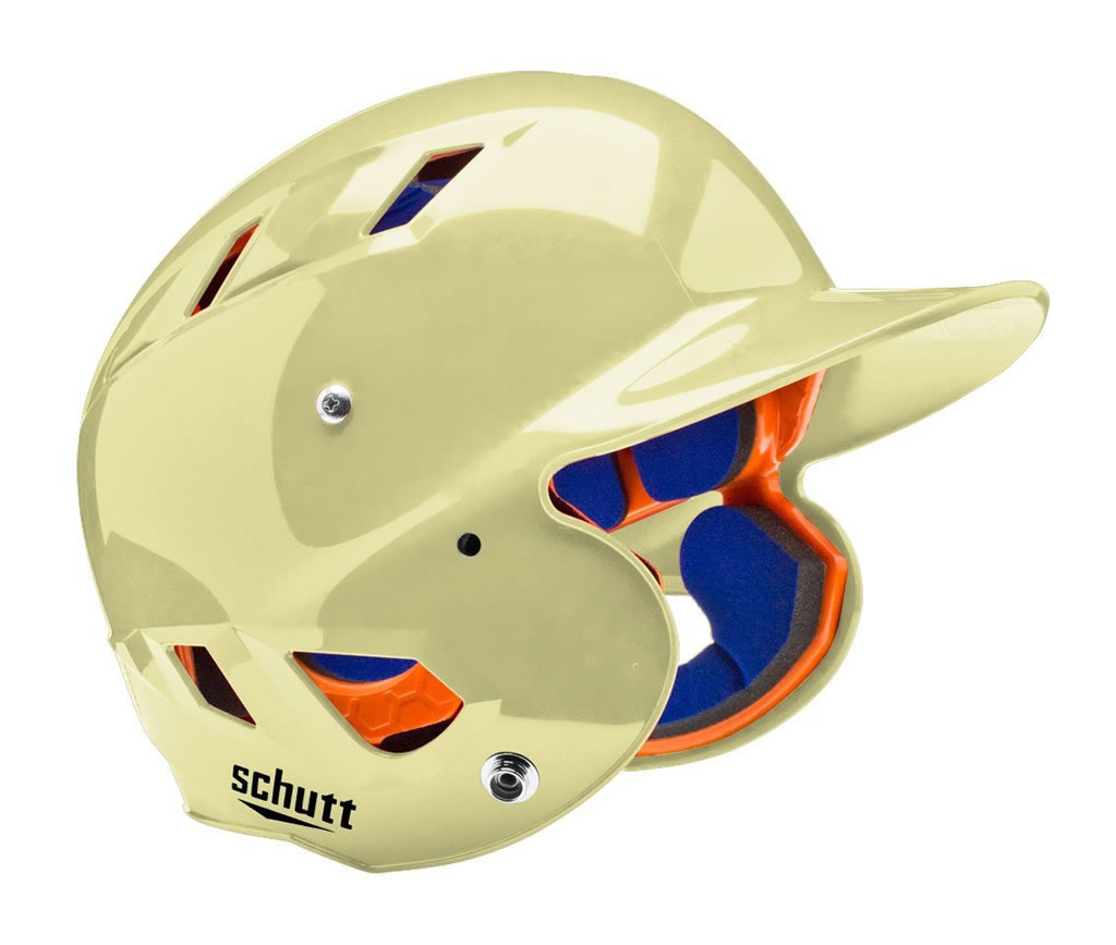 Gold softball helmet by Schutt