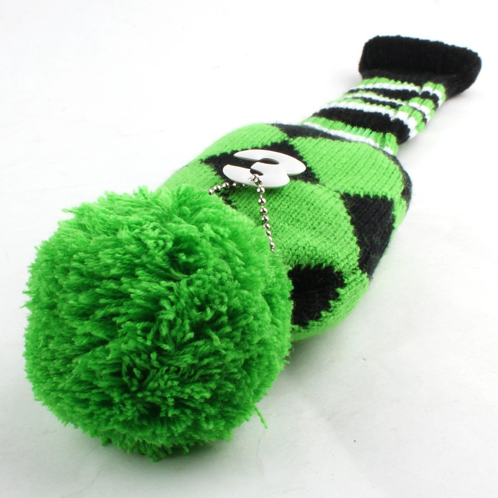 Green Headcover Set Vintange Pom Pom Sock Covers