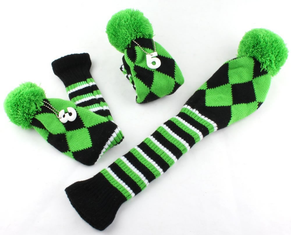 Headcover Set Vintange Pom Pom Sock Covers