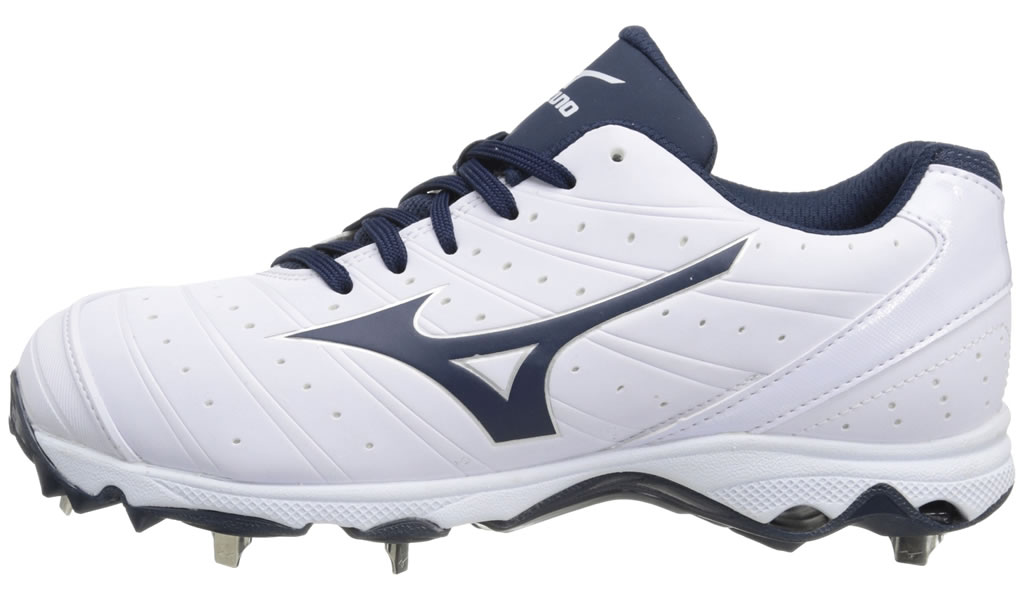 Navy Women's 9-Spike Sweep 2 Fastpitch Cleat By Mizuno, Side
