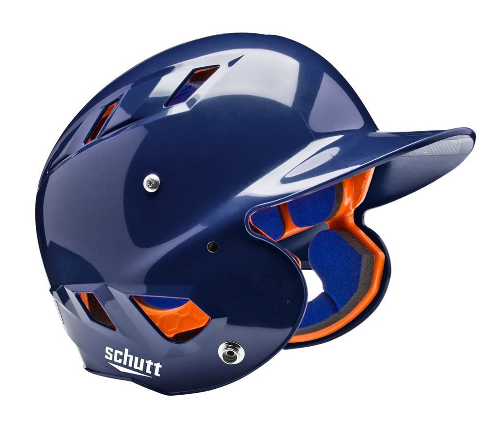 Navy softball helmet by Schutt