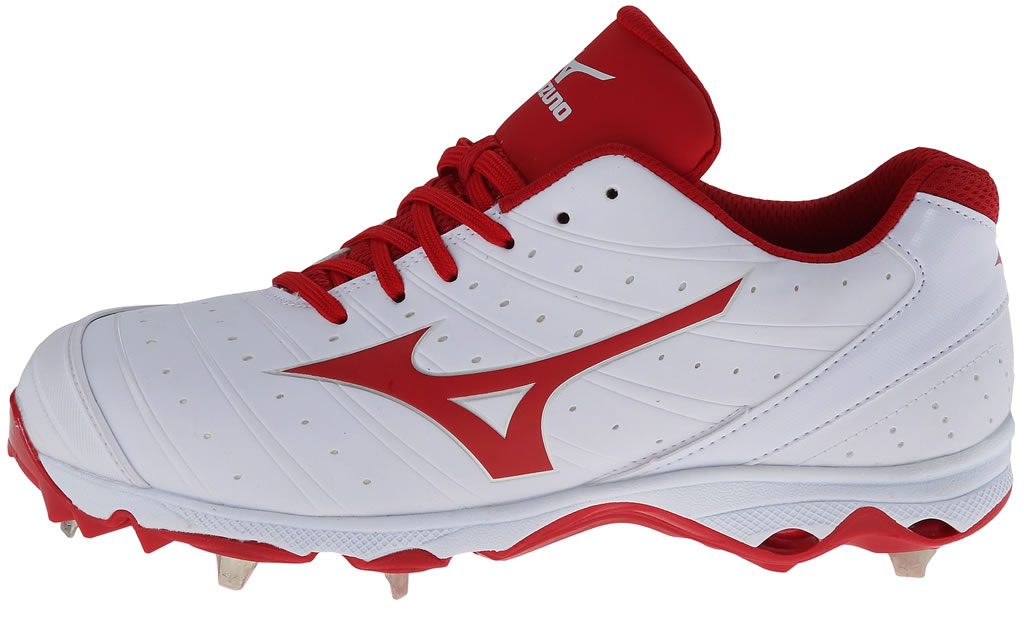 Red Women's 9-Spike Sweep 2 Fastpitch Cleat By Mizuno, Side