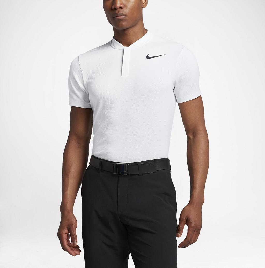 White AeroReact Men's Slim Fit Golf Polo by Nike