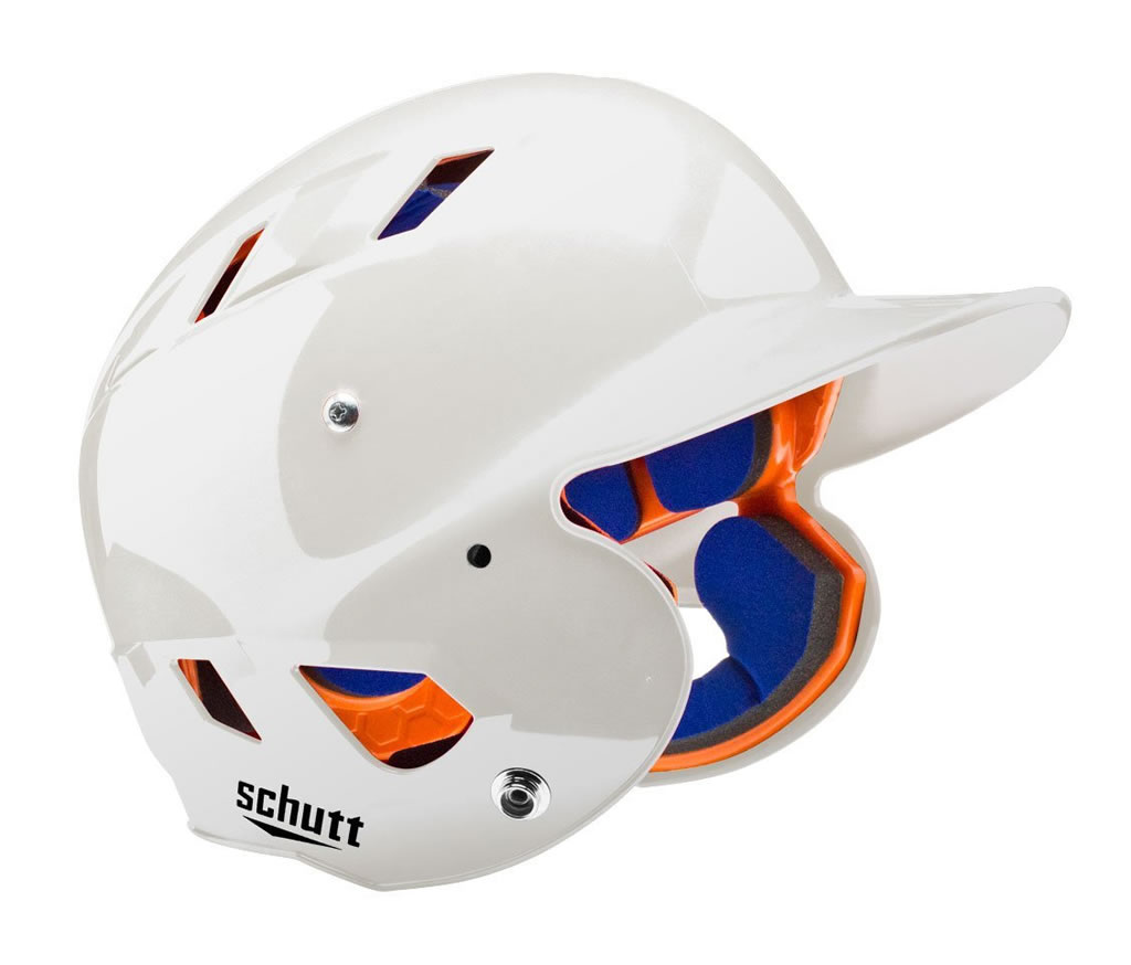 White softball helmet by Schutt