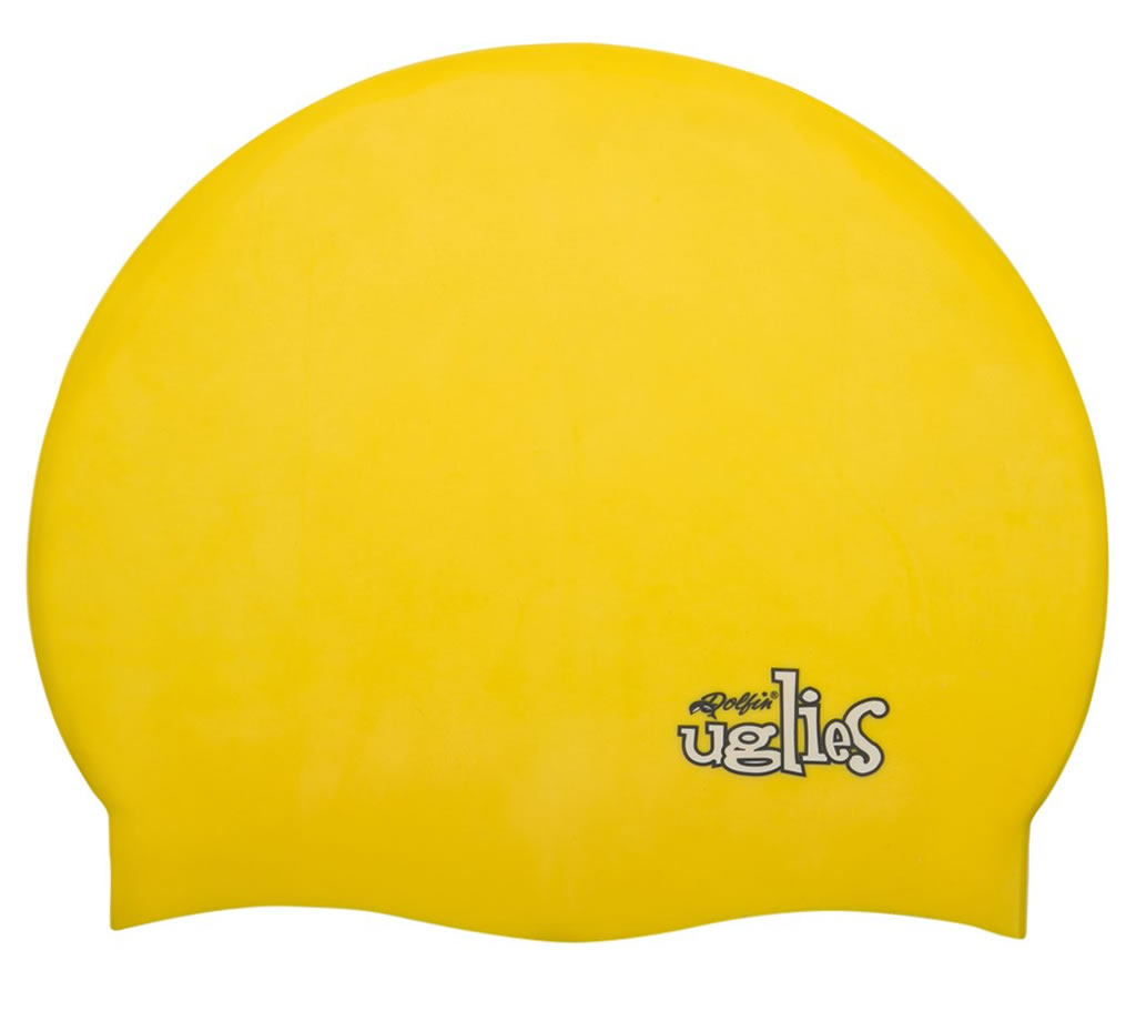 Yellow Solid Silicone Swim Cap by Dolfin Uglies