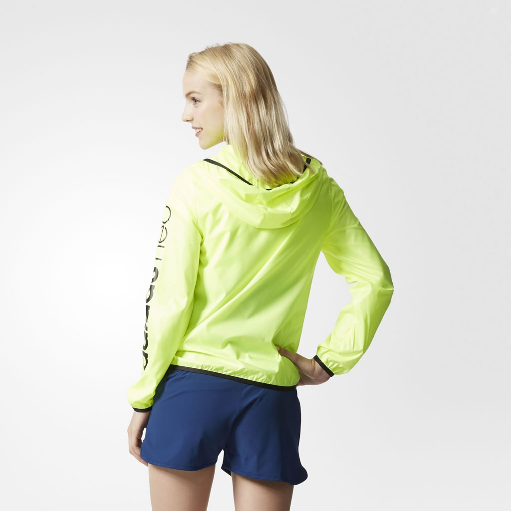 Yellow Windbreaker Jacket For Women By Adidas, Back