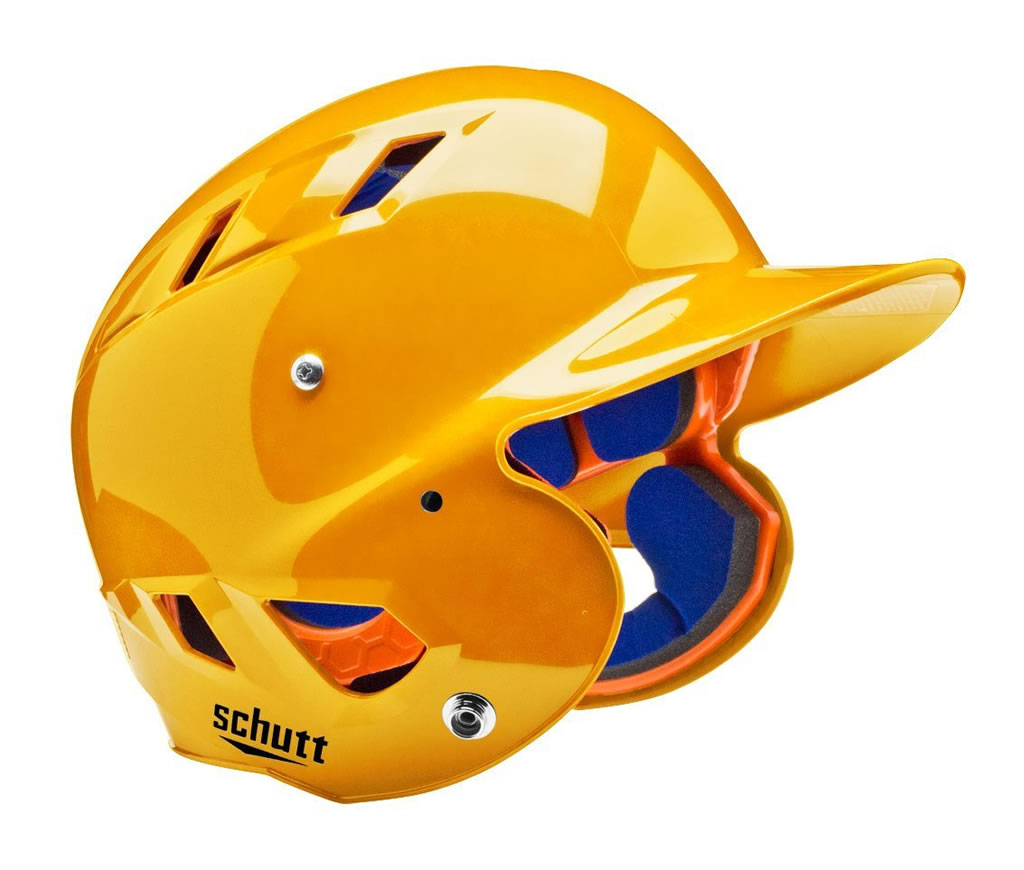 Yellow softball helmet by Schutt
